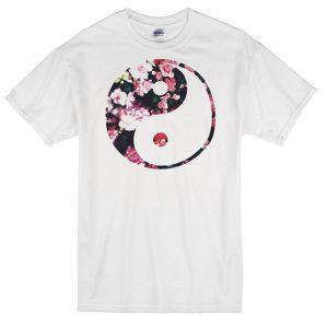 Yin yang flower art T-shirt
