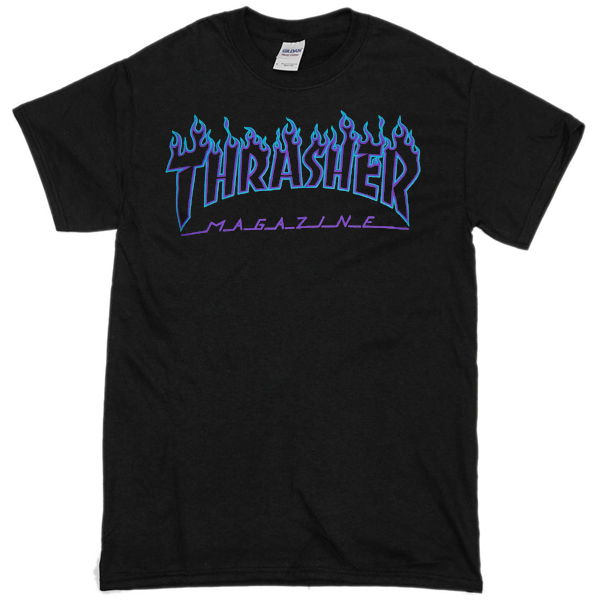 1ba46cc3f02b Thrasher Blue flame black T-shirt - newgraphictees.com