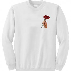A rose flower in hand Sweatshirt