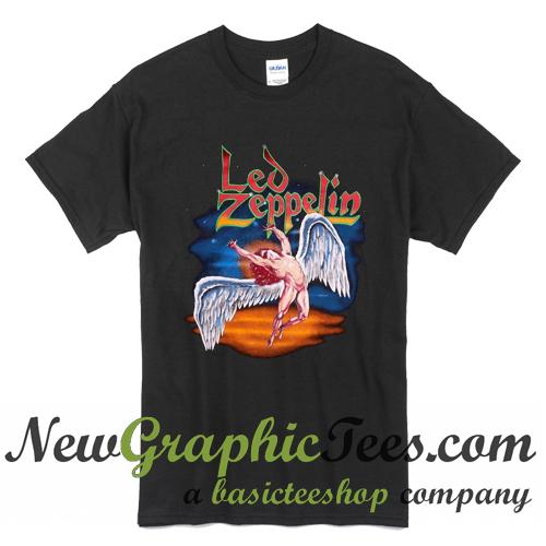 Vintage 1990 Led Zeppelin Black Swan T Shirt