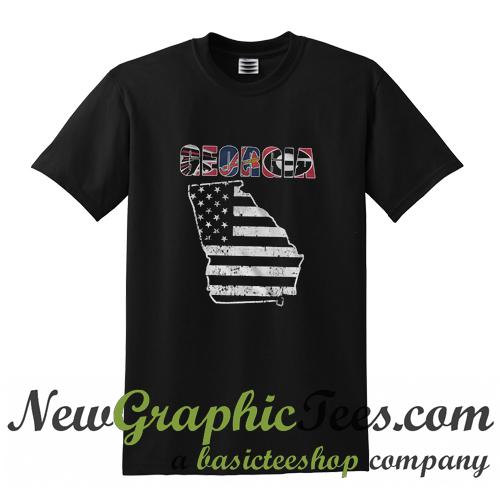 Georgia USA Flag Map Atlanta T Shirt