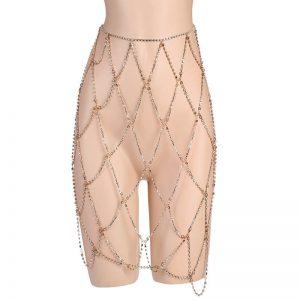 Gold Crystal Diamond Women Skirt