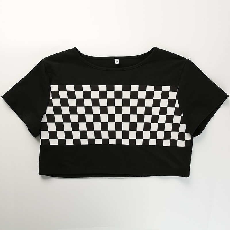 b131be1f3c4 Checkerboard Casual T-shirt Patchwork Checkered Crop Top Short Sleeve Plaid  Tops Tee Fashion Streetwear Tshirt