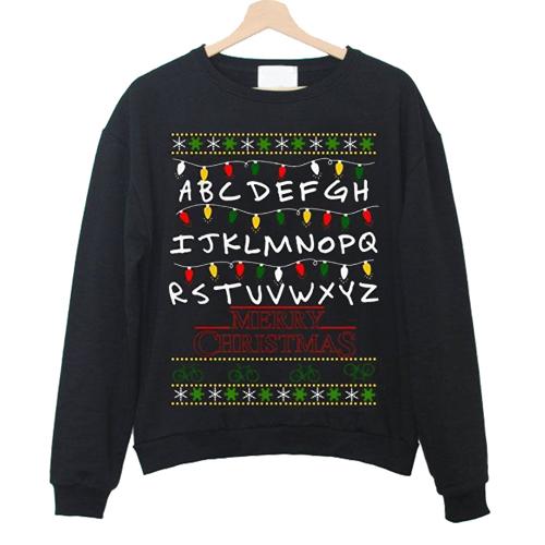 Stranger Things Christmas Sweater.Stranger Things Christmas Lights Sweatshirt