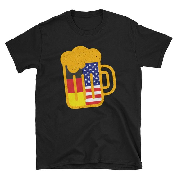 Oktoberfest Distressed American Flag USA German Flag T Shirt