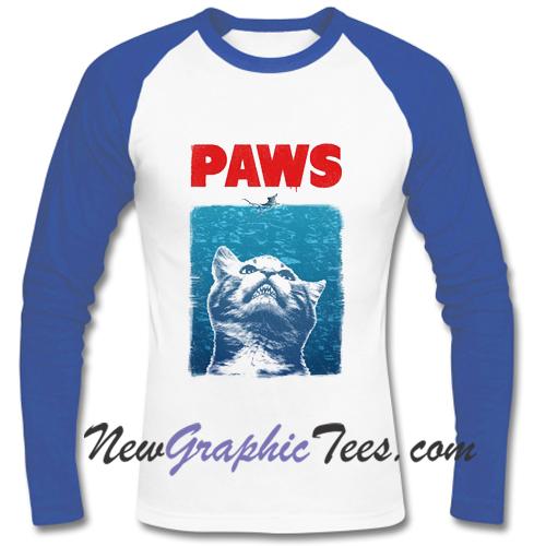 PAWS Jaws Parody Raglan Longsleeve