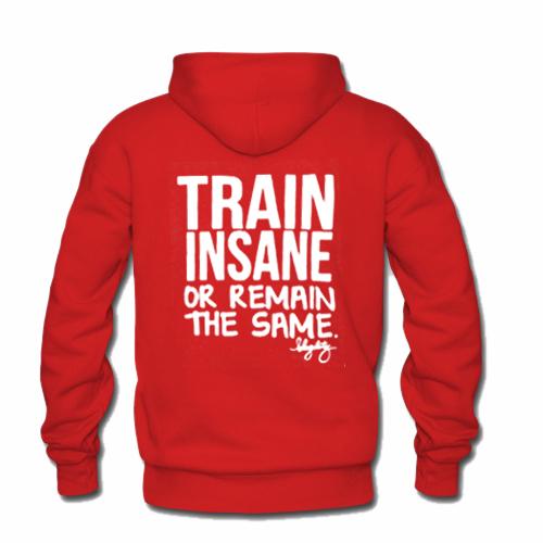 Train insane or remain the same hoodie back