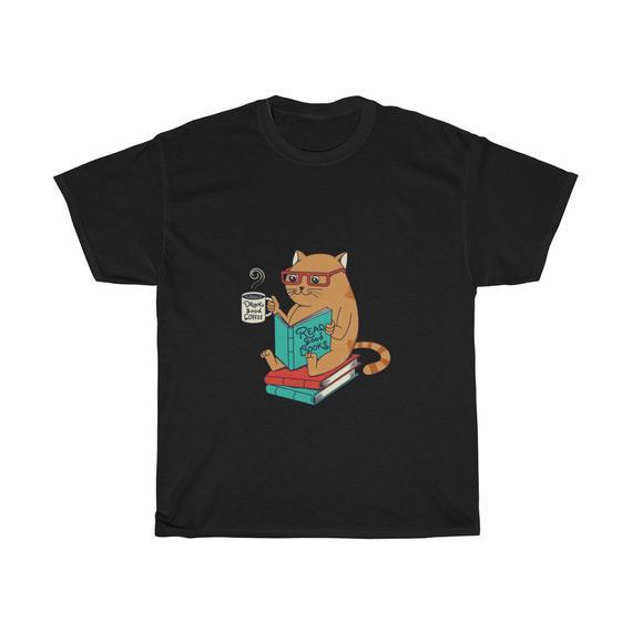 Cat Coffee Books Unisex T Shirt