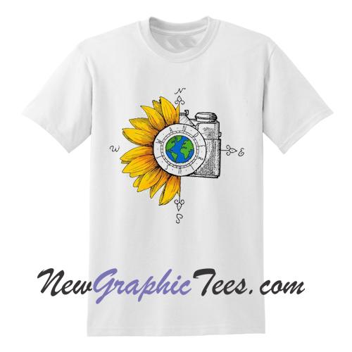 570f8c52 Wanderlust Sunflower Camera T Shirt - newgraphictees.com Wanderlust  Sunflower Camera T Shirt