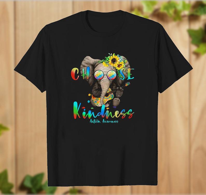 Hippie Elephant Hug Guitar Choose Kindness Autism Awareness T Shirt